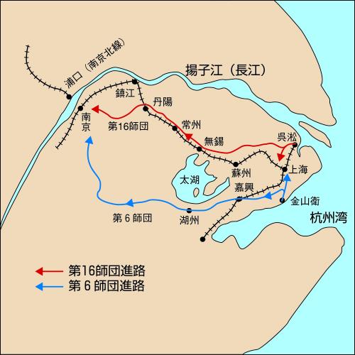 中支那方面軍の南京への進路(想像図)