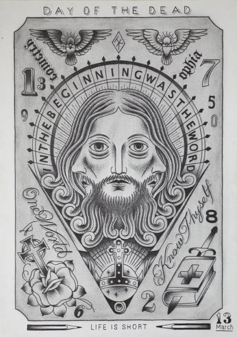 DAY OF THE DEAD IN THE BEGINNING WAS THE WORD-TRINITY JESUS FLASH