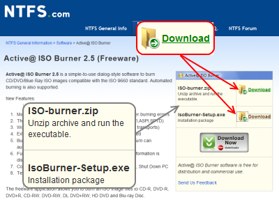 Active@ ISO Burner ダウンロードページ