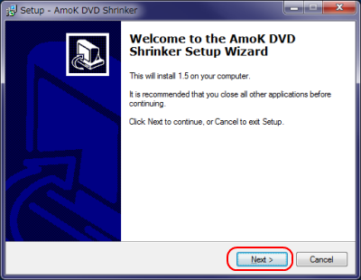 AmoK DVD Shrinker インストール