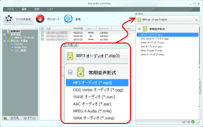 Any Audio Converter 出力フォーマット設定