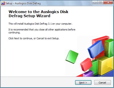 Auslogics Disk Defrag セットアップウィザード