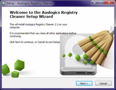 Auslogics Registry Cleanerインストール