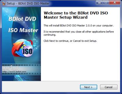 BDlot DVD ISO Master インストール