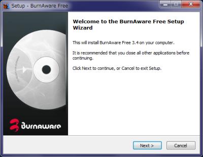 BurnAware Free インストール