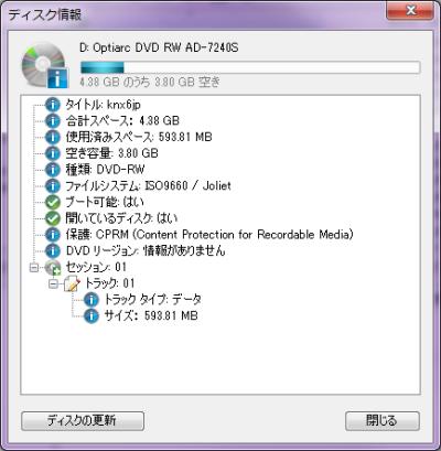 CDBurnerXP ISOイメージ ディスク情報