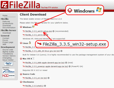 FileZilla Client ダウンロードページ