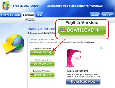 Free Audio Editor ダウンロードページ