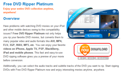 Free DVD Ripper Platinum ダウンロードページ