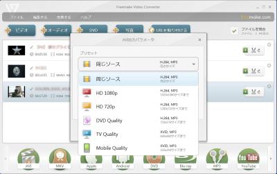 Freemake Video Converterプリセット