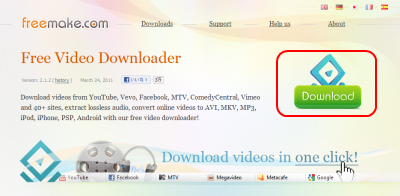Freemake Video Downloader ダウンロードページ