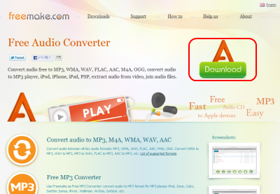 Freemake Audio Converter ダウンロードページ