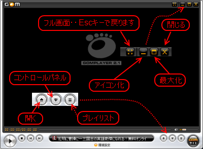 Gom Player操作パネル