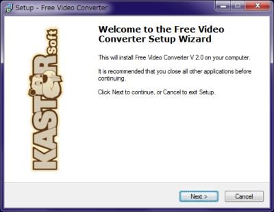 Kastor Free Video Converter インストール