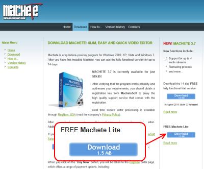 Machete Lite ダウンロードページ