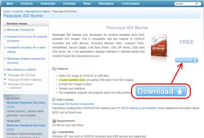 Passcape ISO Burner ダウンロード