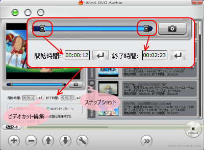 Video DVD Author カット編集