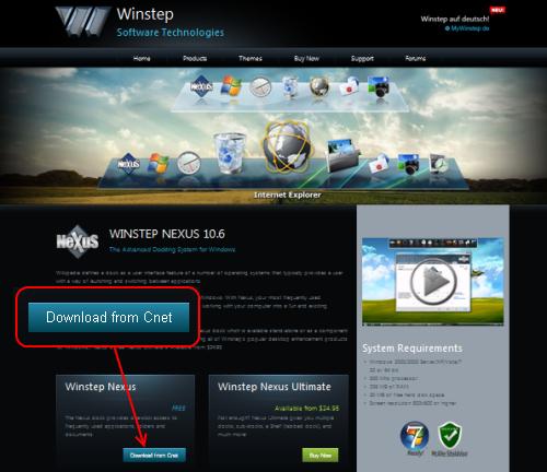 Winstep Nexus Dockダウンロードページ
