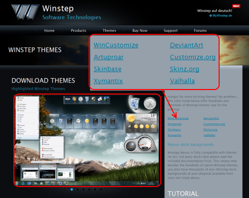 Winstep Nexus Dockのテーマ公開サイト