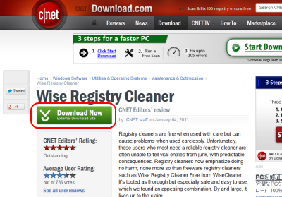 Wise Registry Cleaner ダウンロード Cnet
