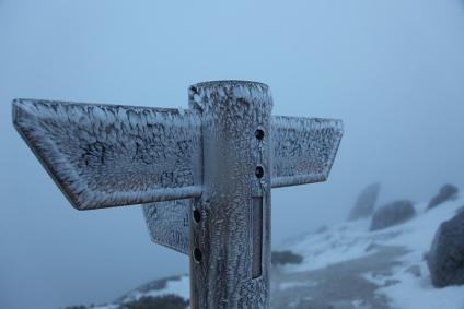 凍てつく空木頂上