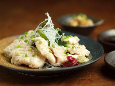 鶏胸肉刺身風皮ポン酢16