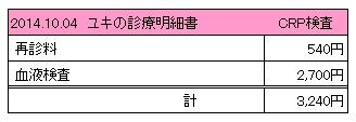 20141004 診療明細書【ユキ】