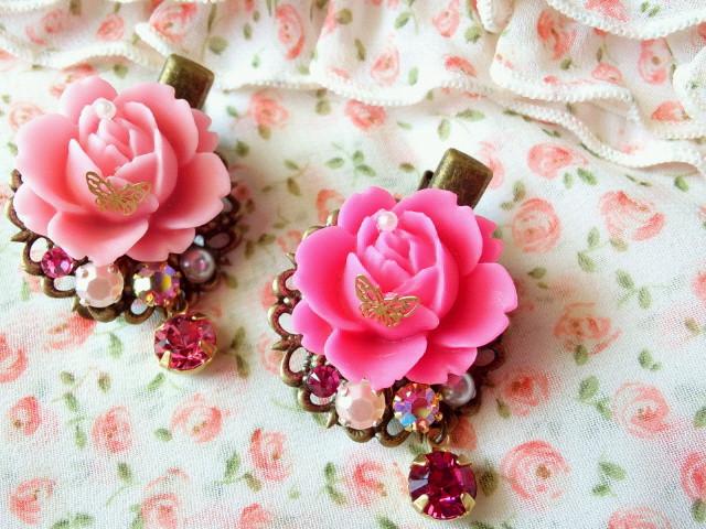 マット薔薇と蝶とクリスタライズのヘアクリップ1