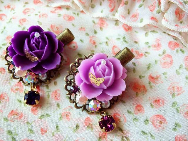 マット薔薇と蝶とクリスタライズのヘアクリップ2