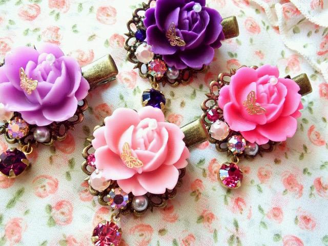 マット薔薇と蝶とクリスタライズのヘアクリップ3