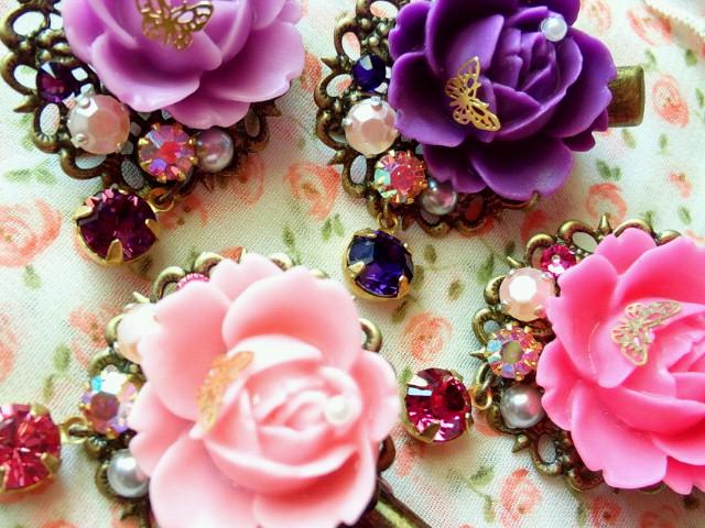 マット薔薇と蝶とクリスタライズのヘアクリップ4