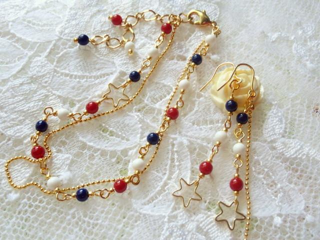 星とトリコロールのブレス&ピアス1
