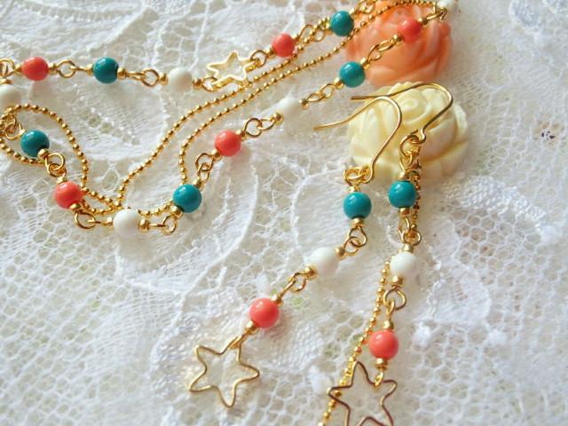 星とトリコロールのブレス&ピアス2