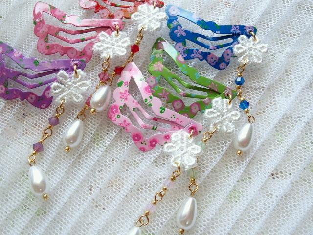 お花レースフリンジ付花柄蝶々ぱっちんピン2