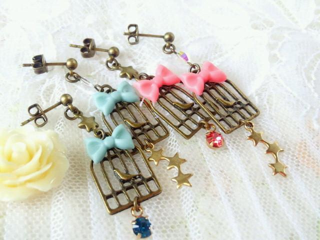星とリボンと鳥籠のキャッチピアス2