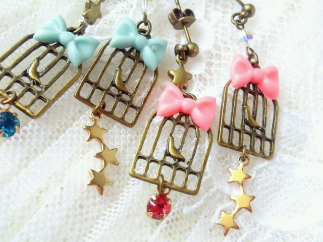 星とリボンと鳥籠のキャッチピアス3