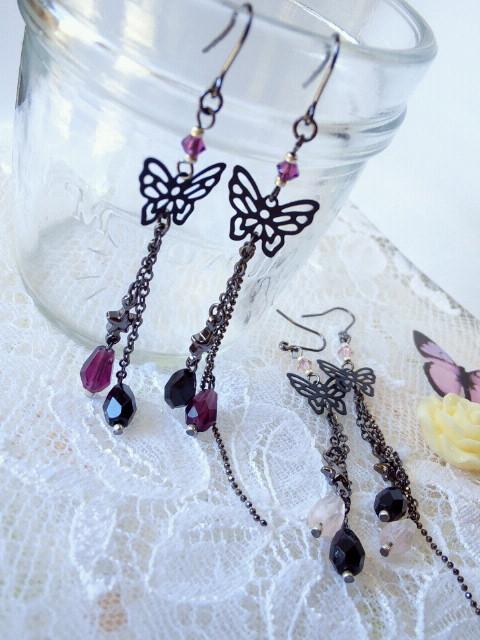 黒蝶と雫の流れ星フックピアス3