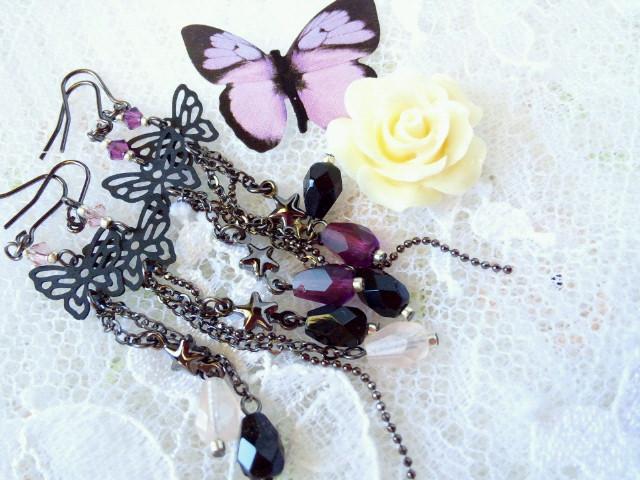 黒蝶と雫の流れ星フックピアス2
