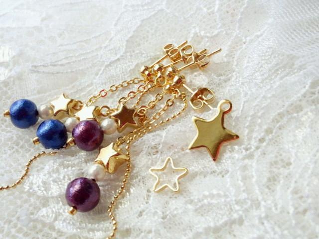 星とコットンパールのチェーンキャッチピアス2