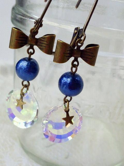 コットンパールと星とオーロラのリボンフレンチフックピアス5