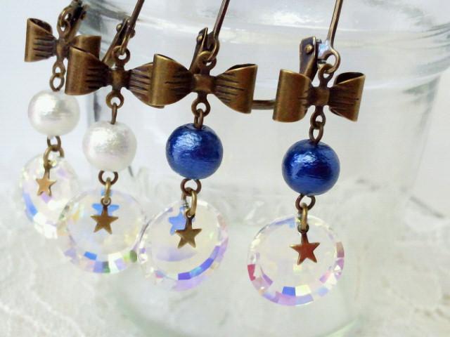 コットンパールと星とオーロラのリボンフレンチフックピアス4