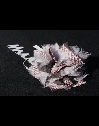 Flower[花]-シュシュ(アンティーク着物地xシルク)/ワイン(絞り模様)