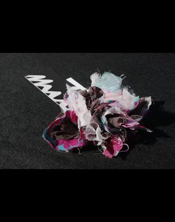 Flower[花]-シュシュ(アンティーク着物地xシルク)/プラム(プリント模様)