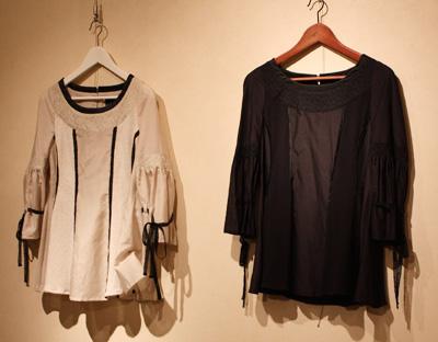 日本製ハンドメイドファッション・アクセサリーブランド【mii】展示販売の様子 フレアスリーブチュニック