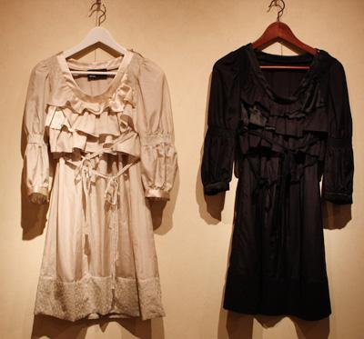 日本製ハンドメイドファッション・アクセサリーブランド【mii】展示販売の様子 ゴージャスフリルドレス