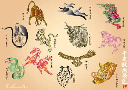 十二支獣画景色