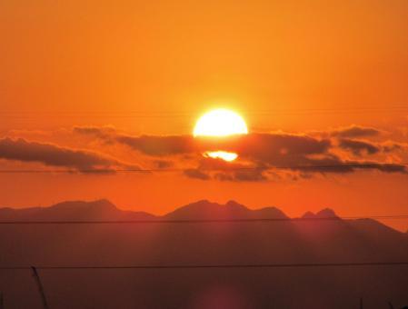夕陽と多良岳 009