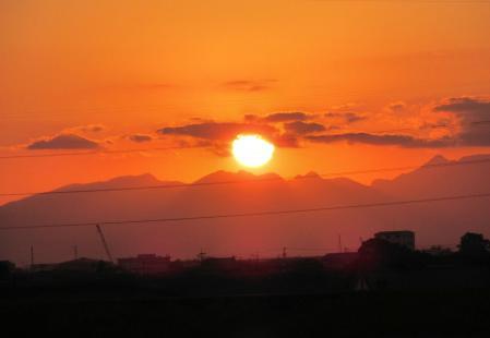 夕陽と多良岳 022