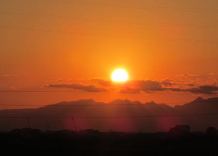 夕陽と多良岳 004