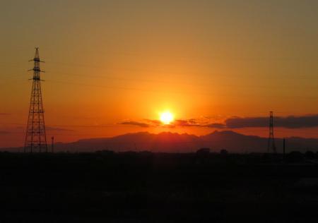 夕陽と多良岳 008